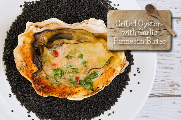 Grilled Oysters with Parmesan Garlic Butter