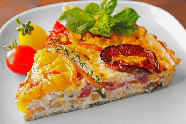 Heirloom Tomato Tart with Basil and Gruyere Cheese