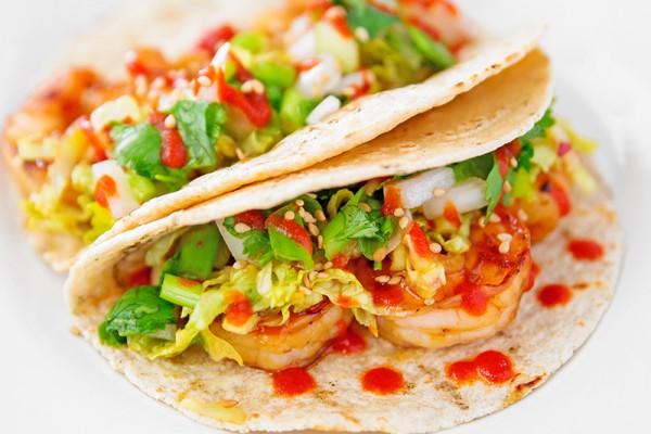 Spicy Korean BBQ Shrimp Tacos