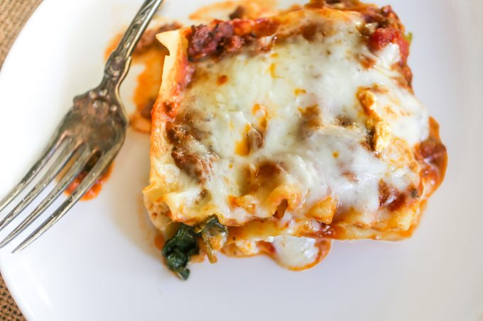 Lasagna with Meat Sauce and Spinach
