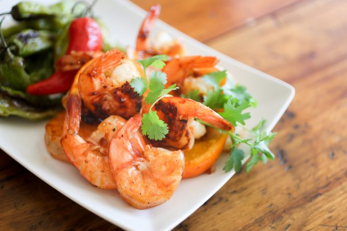 Shrimp with Orange Chile Grill Sauce